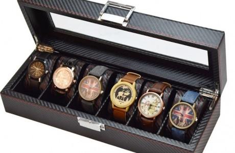 קופסא ל 6 שעונים ותכשיטים מקרבון