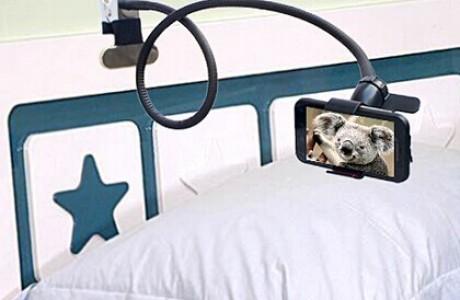 זרוע  מתכת גמישה וארוכה עם תפס לסמארטפון לשימוש במיטה...שולחן