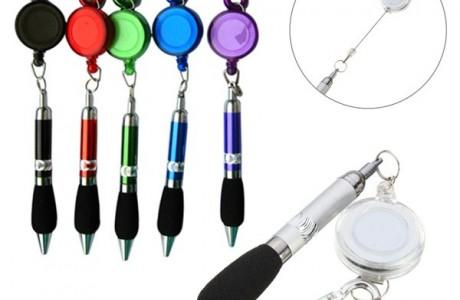מחזיק מפתחות עט כתיבה + חוט משיכה
