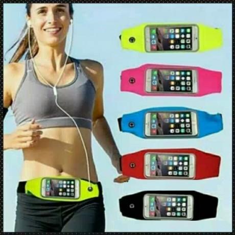 חגורת ספורט לטלפון נייד עם חיבור לאזניות המאפשרת שימוש בנייד תוך כאדי פעילו