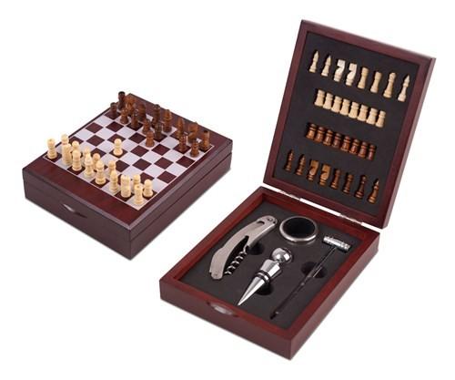 משחק שחמט שולחני מעץ משולב בסט כלים ואביזרי יין